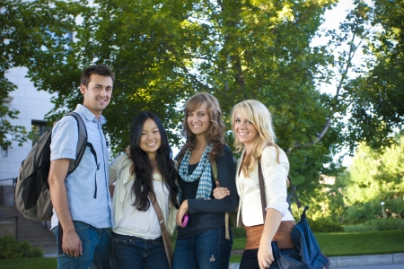 A happy group of ethnically diverse college students Stock Photo
