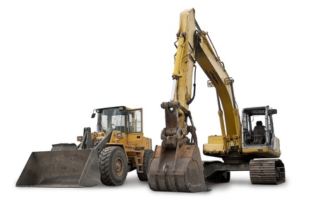 bulldoze: Large Construction Excavation Machinery isolated on white Stock Photo