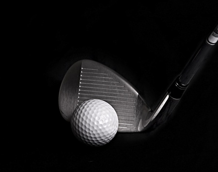 Golf Club hitting Golf Ball Imagens