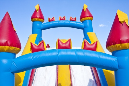 birthday party kids: Childrens Inflatable Castle Playground Stock Photo