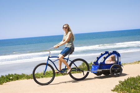 Family Bicycle Ride along the beach photo