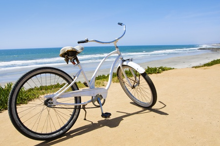 beach cruiser: Vintage Beach Cruiser Bike along the California Coast