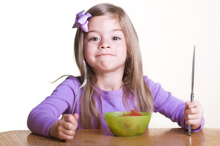 Cute Child ready to Eat Healthy Stock Photo - 9784144