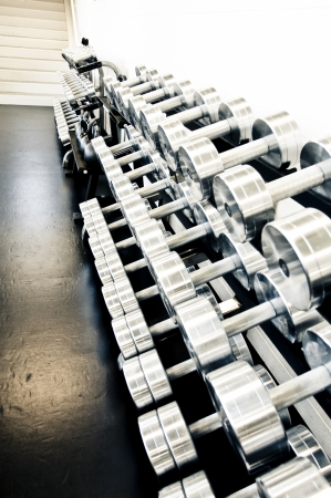 Row of dumbbells