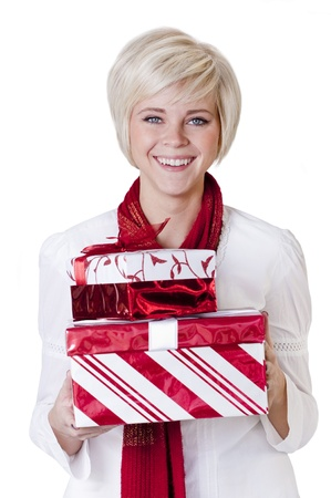 Beautiful Woman holding her newly-purchased christmas presents Stock Photo - 9785330