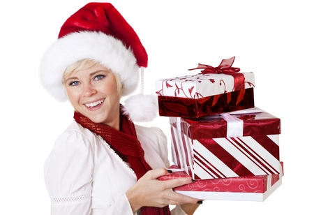 Woman holding presents and Celebrating the Christmas Season Stock Photo - 9785332