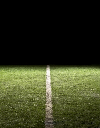 yardline: Line on a Football Field at night Stock Photo