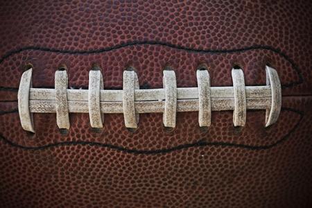 football play: Laces Football americano Close up Macro foto Archivio Fotografico