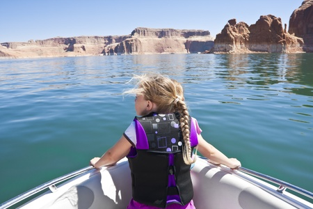 Little Girl on a boat ride at Lake Powell Stock Photo - 10420479