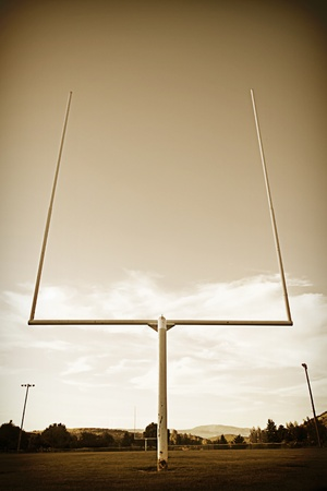 Football Field Goal Posts vintage Stock Photo