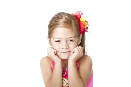 Adorable Little Girl Face on white background Stock Photo - 12035952