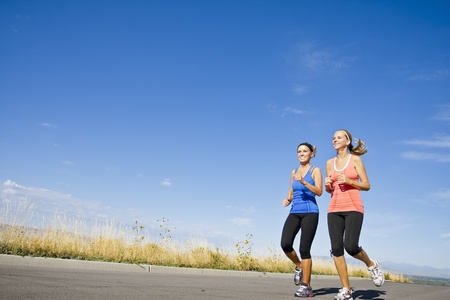 WIde angle view of Healthy Women on a Jog Stock Photo - 12035955