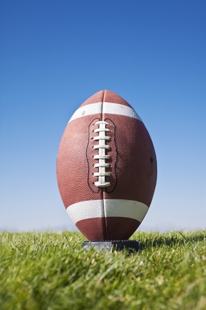 american football: Football Ready for kickoff (close view)