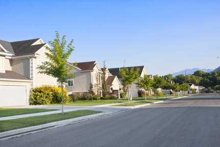 clean street: Clean, Idyllic, Peaceful Neighborhood Stock Photo