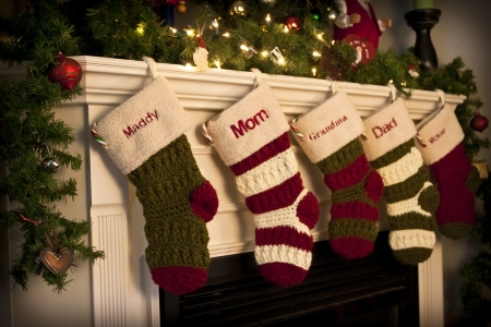 Christmas Stockings by the fireplace Stock Photo - 12040487