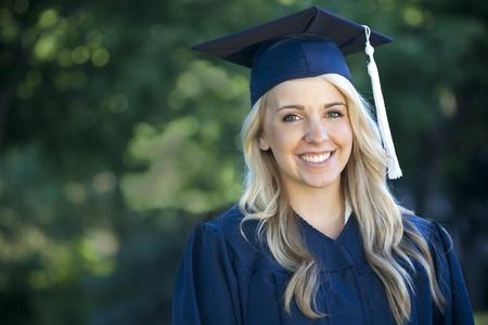 collegian: An attractive female graduate portrait