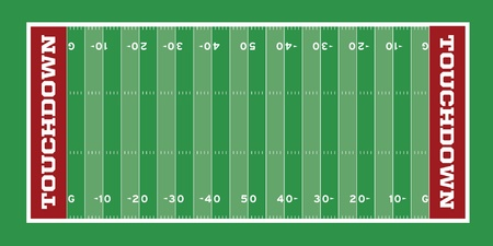 Vector Football Field with hash marks and yard lines Vector