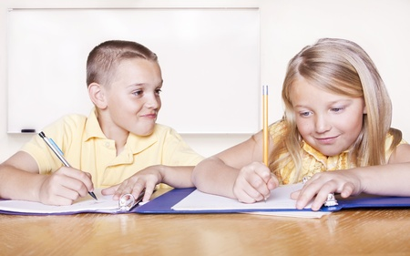 Elementary School Students doing Homework Stock Photo