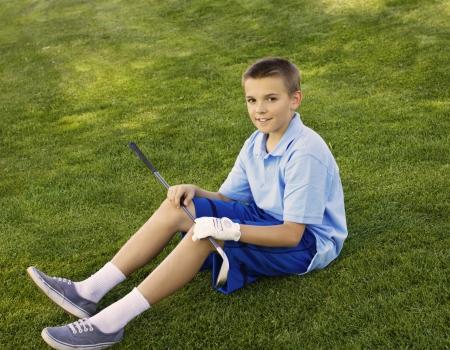 teen golf: Golfista joven adolescente