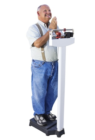 heavy weight: Overweight Senior Male Hoping to Lose Weight Stock Photo