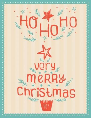 Hand-drawn Vintage Christmas Card   Stock Vector - 15372843