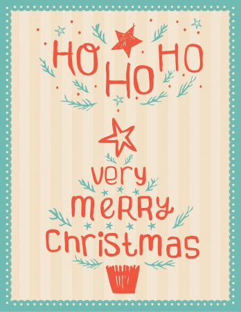 Hand-drawn Vintage Christmas Card Stock Vector - 15372843