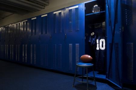 uniforme de futbol: F�tbol Libre Locker Room Foto de archivo