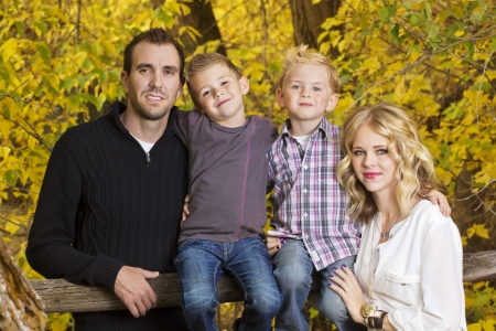 a young family: Beautiful Young Family Portrait with Fall colors
