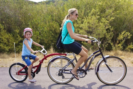 Family on a tandem bicycle ride photo