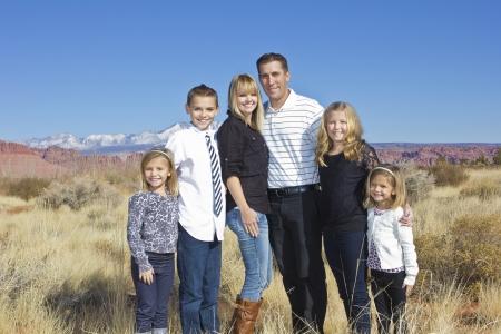 large family portrait: Beautiful Family Outdoor Portrait