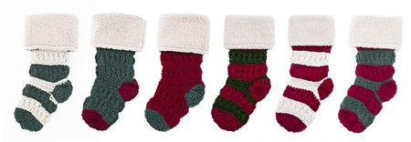 Row of Knitted Christmas Stockings