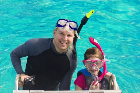 Father and Daughter Snorkeling in the Caribbean Stock Photo - 18024156