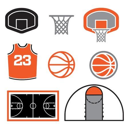 cancha de basquetbol: Simples baloncesto Elementos vectoriales Vectores