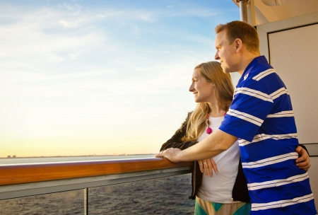 caribbean cruise: Couple Enjoying a Cruise Vacation Stock Photo