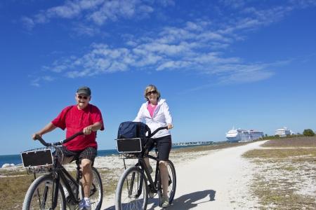 Senior Couple on a bike ride photo