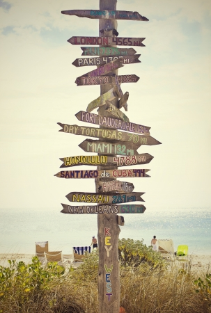 Directional Sign Post auf dem Strand