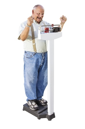 lose: Senior Male excited about Weight Loss Stock Photo