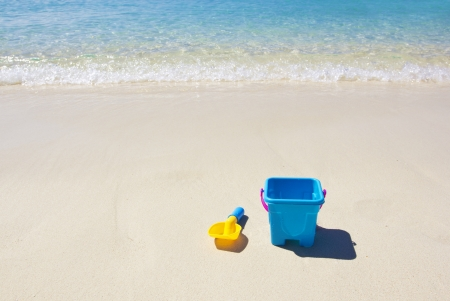 beach scene: Peaceful Sandy Beach Scene Stock Photo