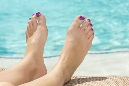 body paint: Beautiful Sexy Feet and Toes by the Swimming Pool