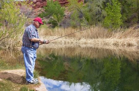 outdoorsman: Retired Man enjoying a day of Fishing