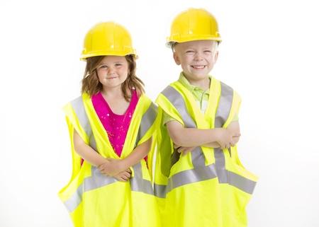 hard: Cute Kids dressed as Young Engineers