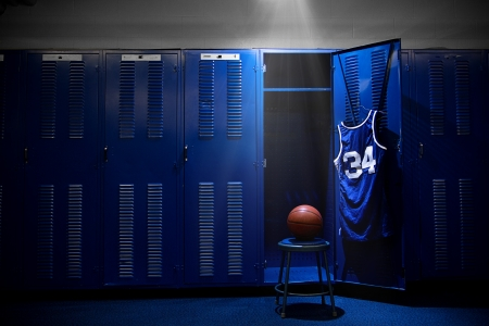 sports clothing: Basketball Locker Room with spotlight on the ball and locker