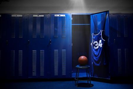 Basketball Locker Room with spotlight on the ball and locker