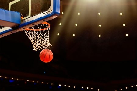 Basketball basket with all going through net Stock Photo - 24385619