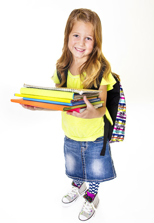 elementary student: Little Girl elementary student Portrait Isolated