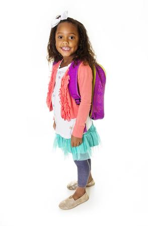 Young School Girl Portrait Isolated