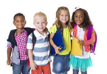Elementary School Kids Groep Geïsoleerd