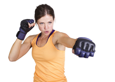 fighters: Strong muscular Woman boxing