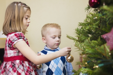 decorating christmas tree: Kids decorating a Christmas Tree together