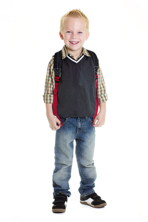 elementary age girl: Cute Elementary School Boy Isolated on white Stock Photo